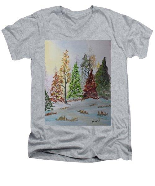 Pine Cove Men's V-Neck T-Shirt by Jack G Brauer