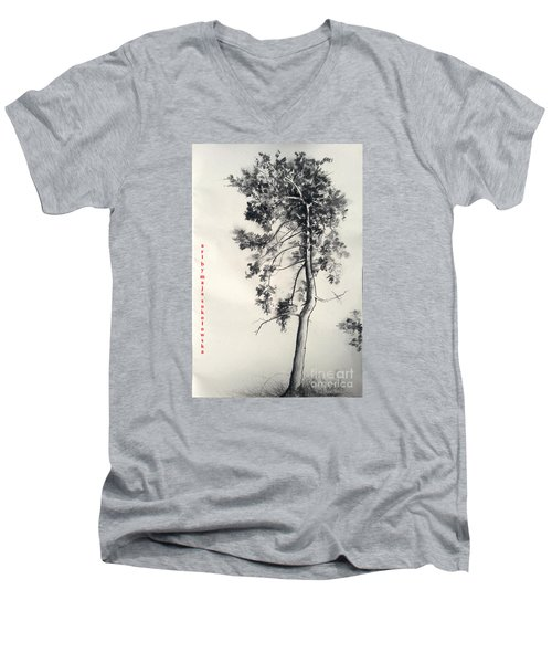 Pine Drawing Men's V-Neck T-Shirt by Maja Sokolowska