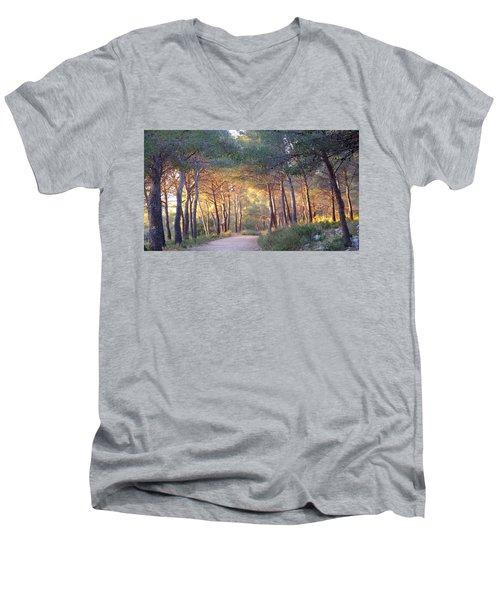 Pine Forest At Sunset Men's V-Neck T-Shirt