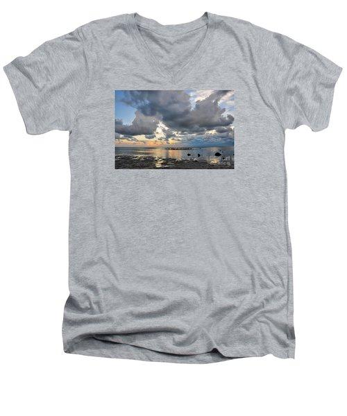 Pine Island Sunset Men's V-Neck T-Shirt by Debbie Green