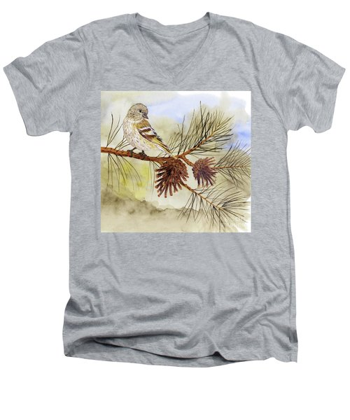 Pine Siskin Among The Pinecones Men's V-Neck T-Shirt