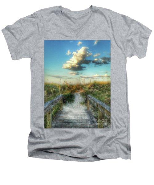 Pine Street Glow Men's V-Neck T-Shirt by Linda Olsen