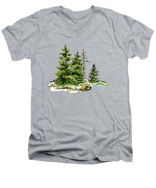 Pine Tree Watercolor Ink Image I         Men's V-Neck T-Shirt