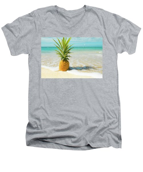 Men's V-Neck T-Shirt featuring the photograph Pineapple Beach by Sharon Mau