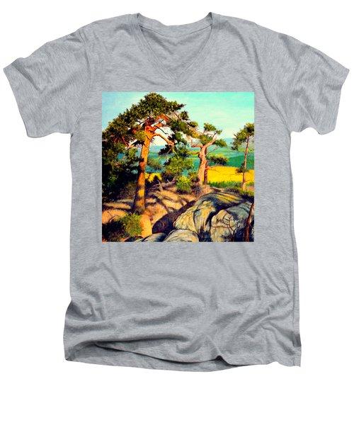 Pines On The Rocks Men's V-Neck T-Shirt