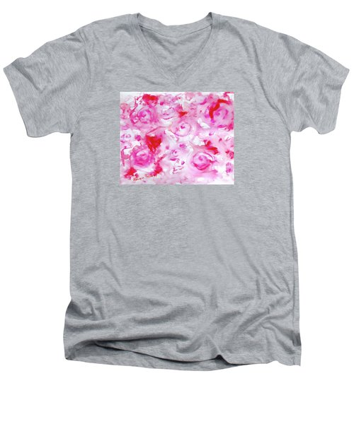 Pink Abstract Floral Men's V-Neck T-Shirt
