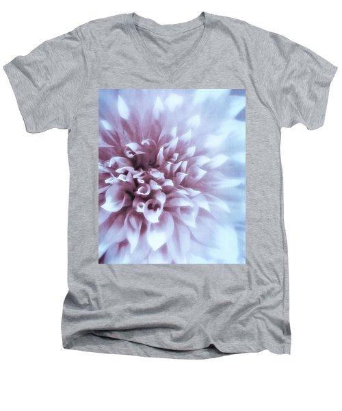 Pink And Blue Dahlia Men's V-Neck T-Shirt