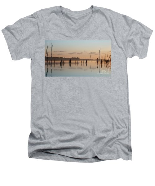 Pink And Blue Skies Men's V-Neck T-Shirt
