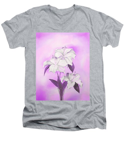 Men's V-Neck T-Shirt featuring the mixed media Pink And White by Elizabeth Lock