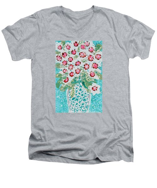 Pink And White Flowers Men's V-Neck T-Shirt
