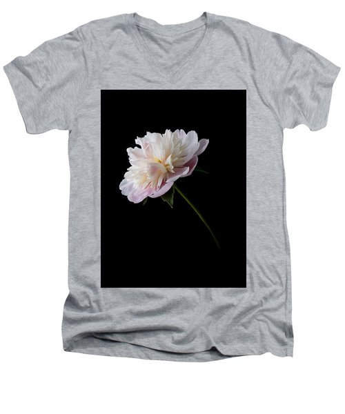 Pink And White Peony Men's V-Neck T-Shirt