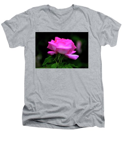 Men's V-Neck T-Shirt featuring the photograph Pink And White Rose 005 by George Bostian