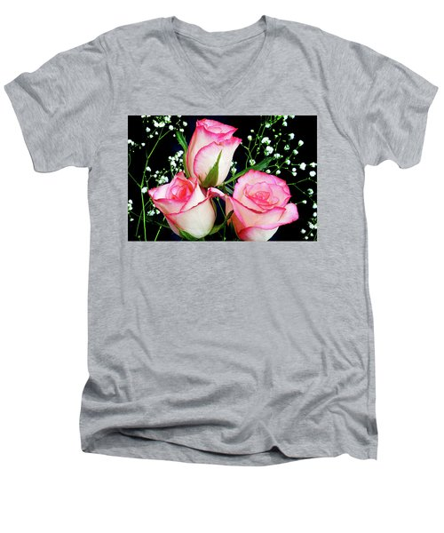 Pink And White Roses Men's V-Neck T-Shirt