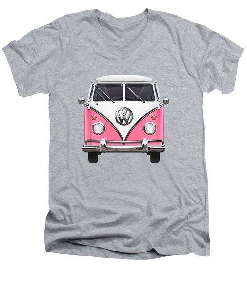Pink And White Volkswagen T 1 Samba Bus On Yellow Men's V-Neck T-Shirt