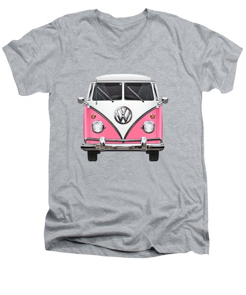 Pink And White Volkswagen T 1 Samba Bus On Yellow Men's V-Neck T-Shirt