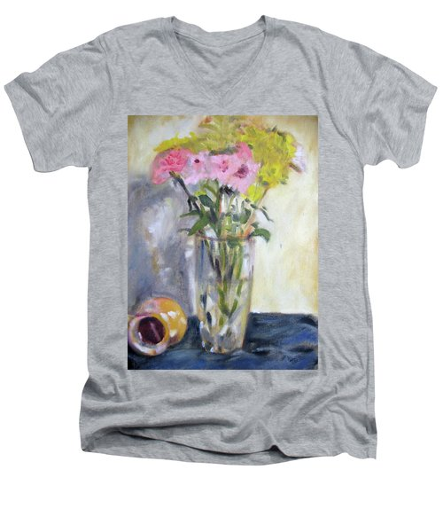 Pink And Yellow Flowers Men's V-Neck T-Shirt