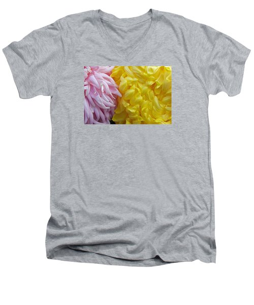 Pink And Yellow Mums Men's V-Neck T-Shirt