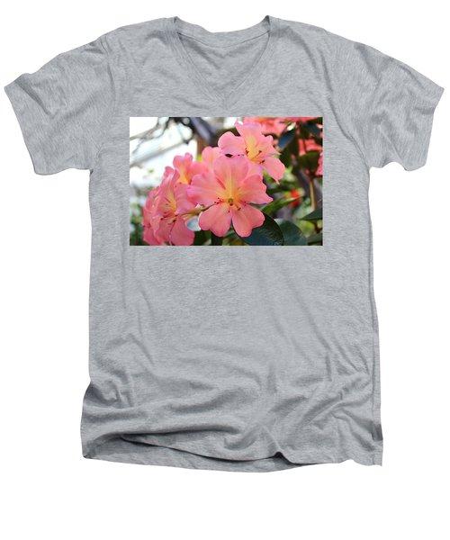 Pink And Yellow Vireya Men's V-Neck T-Shirt