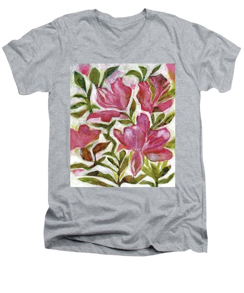 Pink Azaleas Men's V-Neck T-Shirt by Julie Maas