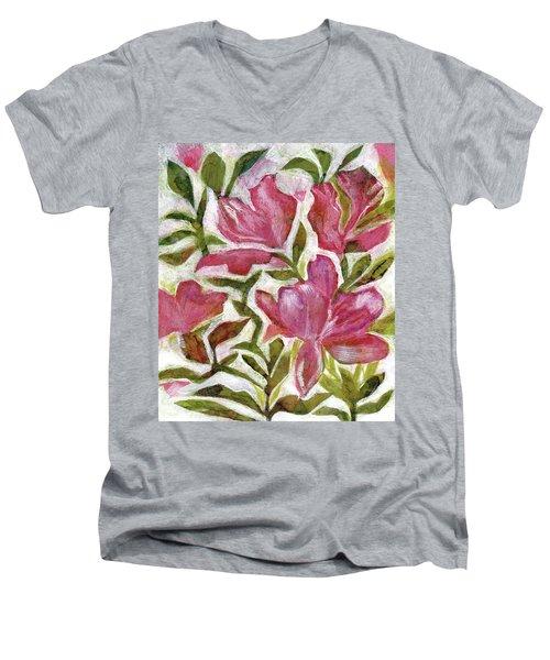 Pink Azaleas Men's V-Neck T-Shirt
