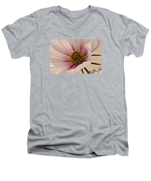 Pink Bi Color Cosmo Macro Men's V-Neck T-Shirt by Sandra Foster