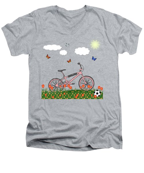 Pink Bicycle Men's V-Neck T-Shirt by Gaspar Avila