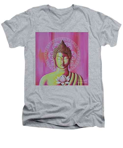 Men's V-Neck T-Shirt featuring the painting Pink Buddha by Joseph Sonday