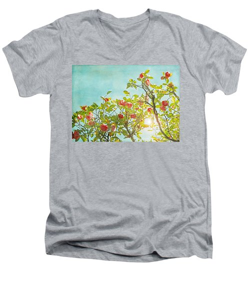 Pink Camellia Japonica Blossoms And Sun In Blue Sky Men's V-Neck T-Shirt by Brooke T Ryan