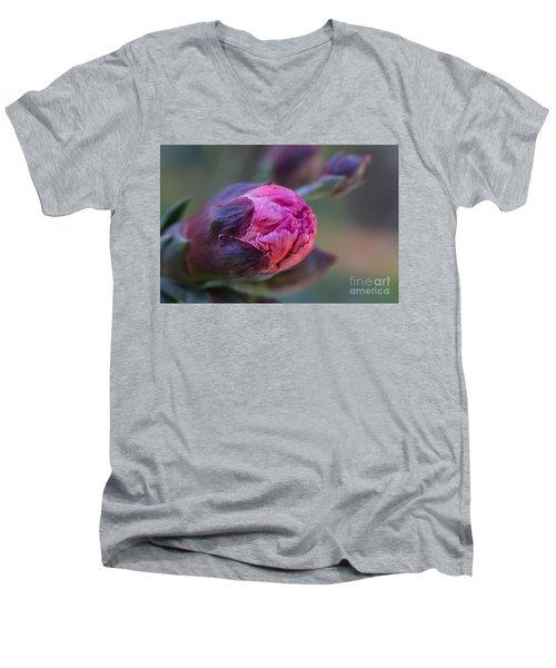 Pink Carnation Bud Close-up Men's V-Neck T-Shirt