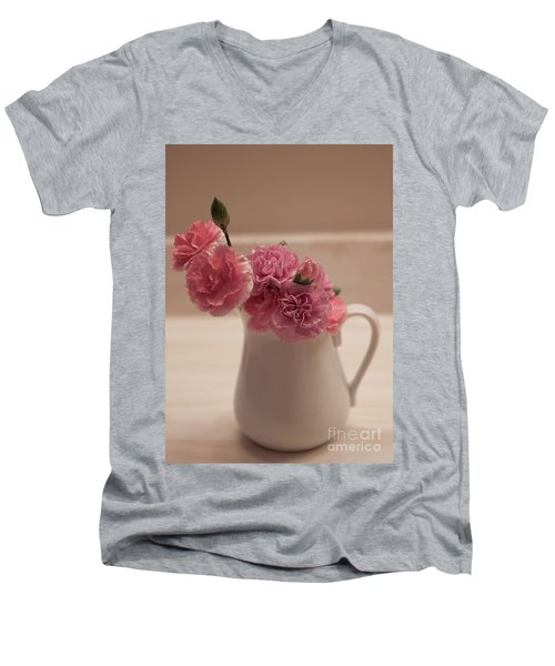 Pink Carnations Men's V-Neck T-Shirt by Sherry Hallemeier