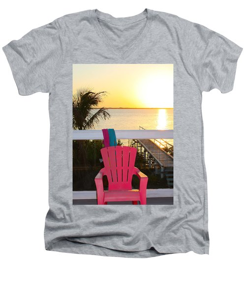 Pink Chair In The Keys Men's V-Neck T-Shirt