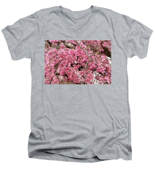 Pink Cherry Blossom Japan Arashayama Spring Holiday Diaries Men's V-Neck T-Shirt