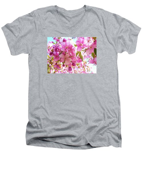 Pink Cherry Blossoms Men's V-Neck T-Shirt