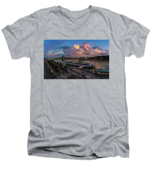 Pink Clouds Above The Danube, Budapest Men's V-Neck T-Shirt