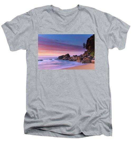 Pink Clouds And Rocky Headland Seascape Men's V-Neck T-Shirt