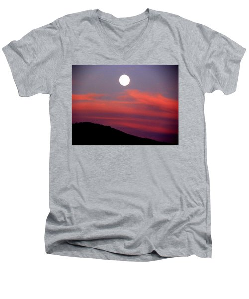 Pink Clouds With Moon Men's V-Neck T-Shirt by Joseph Frank Baraba