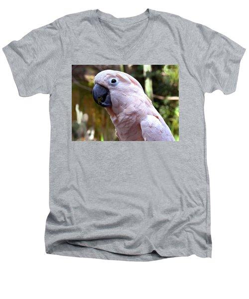 Pink Cockatoo Men's V-Neck T-Shirt by Haleh Mahbod