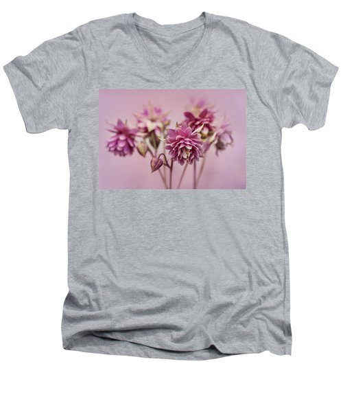 Pink Columbines Men's V-Neck T-Shirt