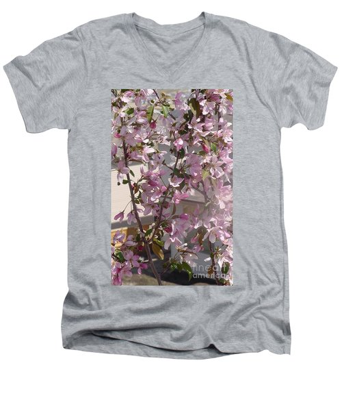 Pink Crabapple Branch Men's V-Neck T-Shirt