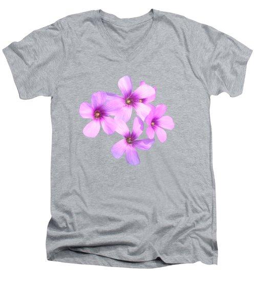 Pink Cutout Flowers Men's V-Neck T-Shirt