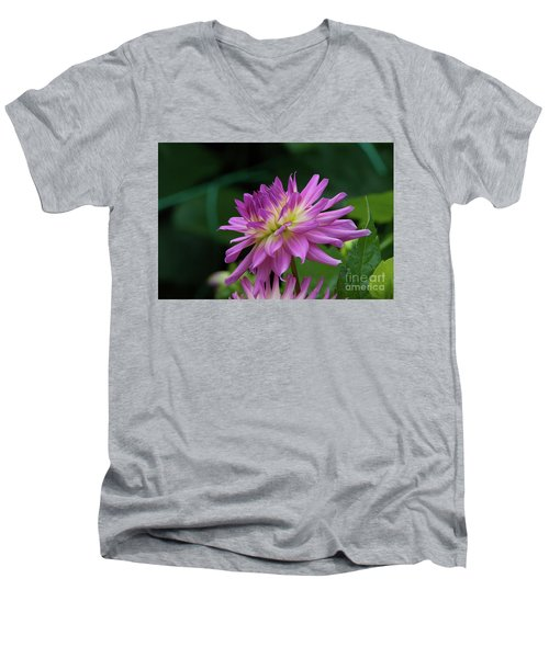 Pink Dahlia Men's V-Neck T-Shirt by Glenn Franco Simmons