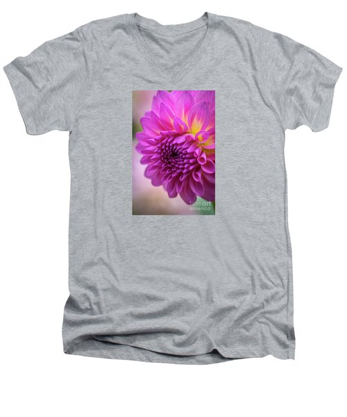 Pink Dahlia Men's V-Neck T-Shirt
