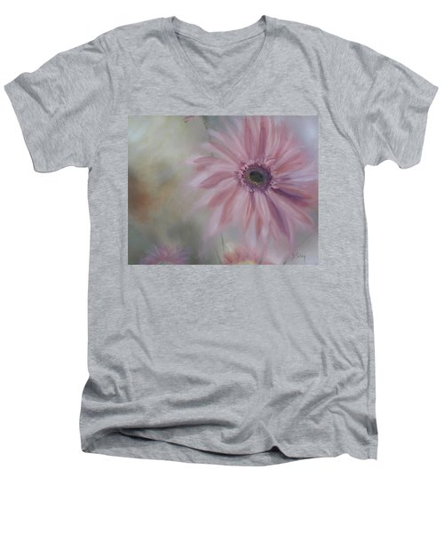 Men's V-Neck T-Shirt featuring the painting Pink Daisies by Donna Tuten