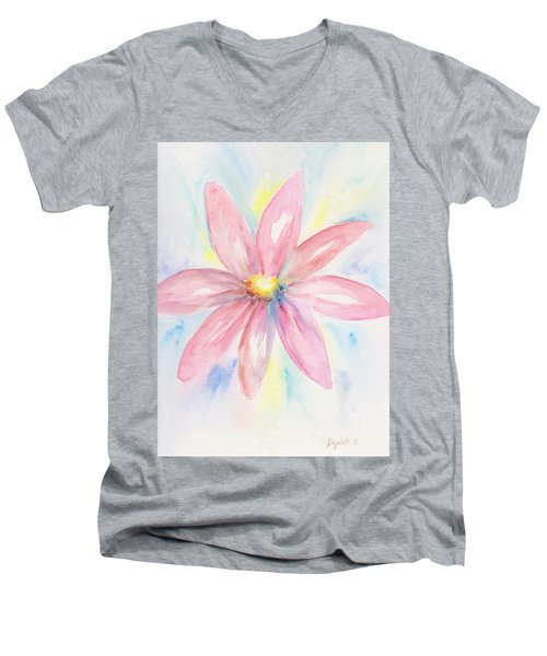 Pink Daisy Men's V-Neck T-Shirt