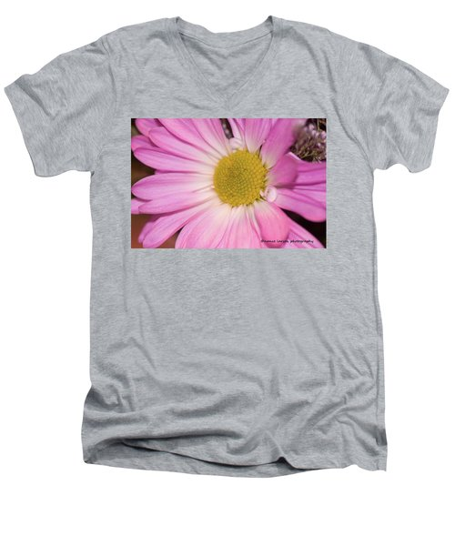 Pink Daisy Men's V-Neck T-Shirt by Nance Larson