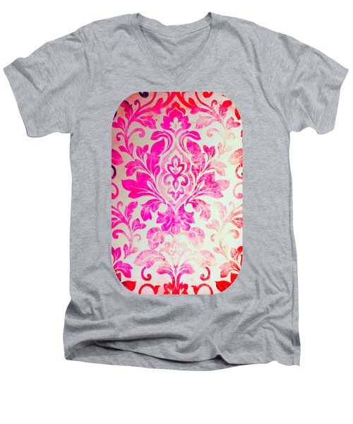 Pink Damask Pattern Men's V-Neck T-Shirt