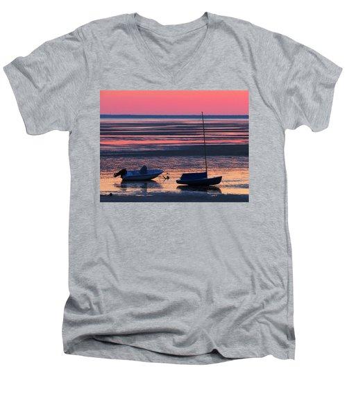 Pink Dawn Men's V-Neck T-Shirt by Dianne Cowen