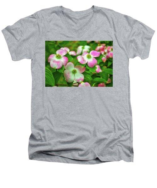 Pink Dogwoods 003 Men's V-Neck T-Shirt by George Bostian