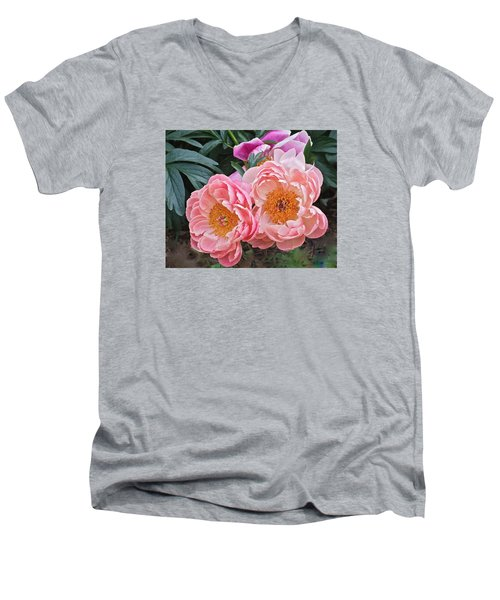 Pink Duo Peony Men's V-Neck T-Shirt by Janis Nussbaum Senungetuk