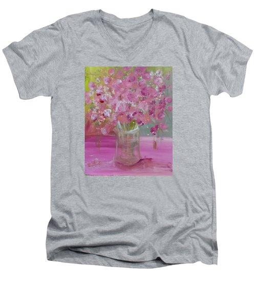 Pink Explosion Men's V-Neck T-Shirt by Terri Einer